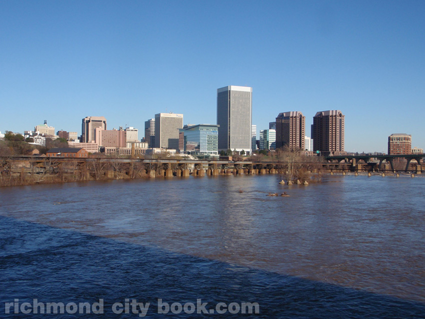 Richmond across the James River with high water