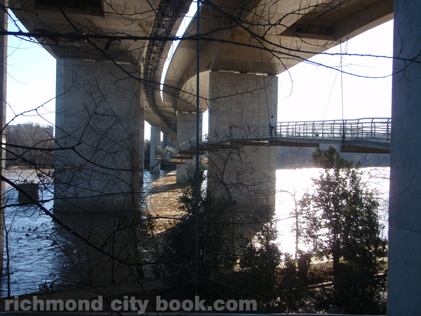 Under Robert E Lee Bridge walkway over James River